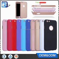 Top Selling Ultra Thin PC 360 Degree Full Cover Protective Cell Phone Case For iPhone 6/6S With Free Tempered Glass