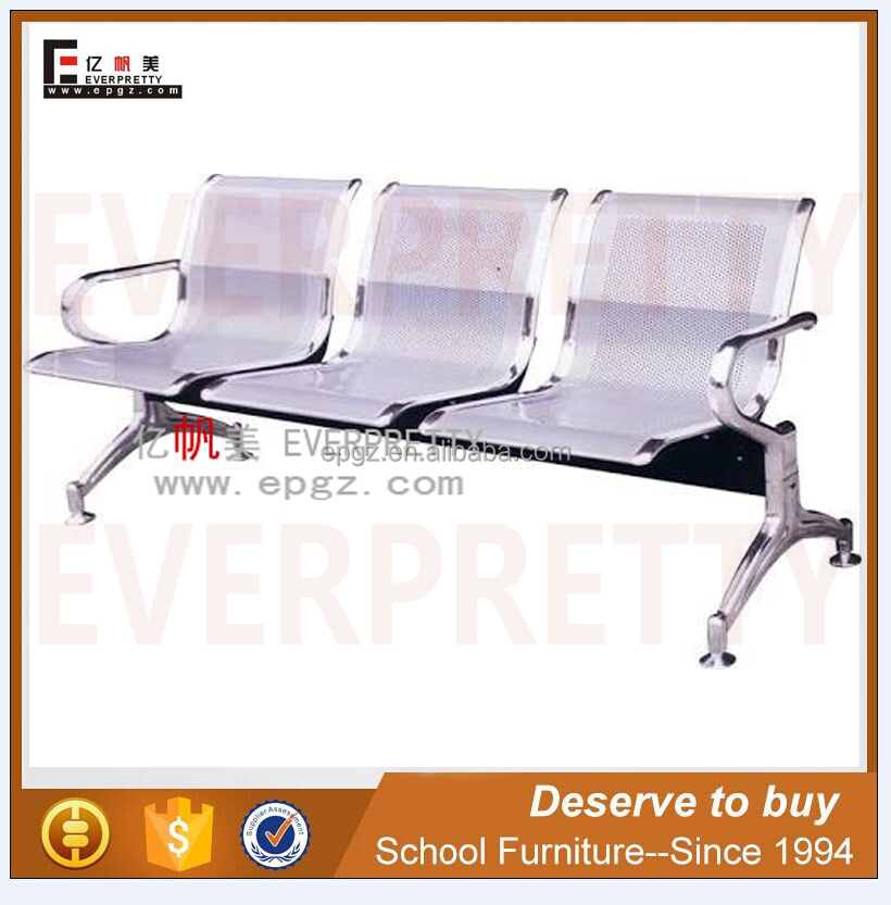 Public Stainless Steel Seating Bench Hospital Chair High Back Airport Waiting Chairs