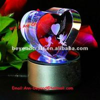 heart shape crystal laser angel with led base