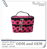 zippered small dot printed cosmetic bag