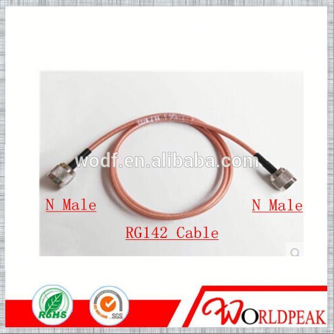 N Male connector with RG142 cable jumper