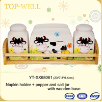 Ceramic relief cow tabel ware set with wood cover