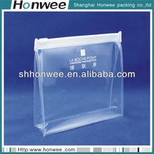 hot sale clear PVC zipper make up bag with screen printing