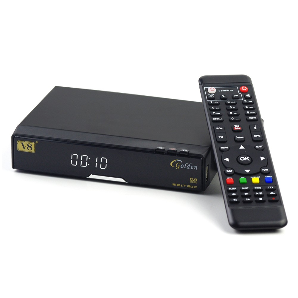 Satellite Receiver V8 Golden Hot sale Strong 1080p Hd Decoder 2 X Usb 2.0 High Speed Host Super Box Satellite Receiver V8 Golden