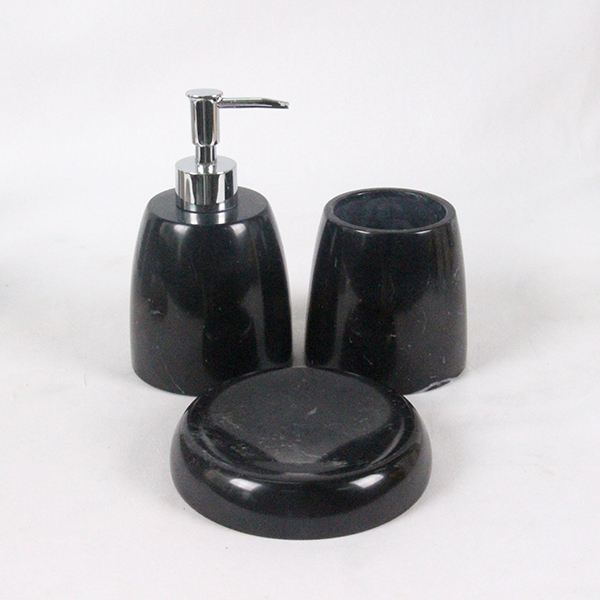Two combine white and black inartificial marble stone toothbrush holder