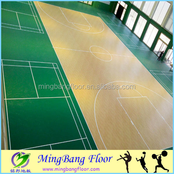 removable synthetic basketball court pvc laminate flooring
