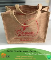 Fancy Eco-Friendly Natural Jute Shopping Bag with Cotton Cord Handle