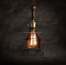 Best sell in Europe market rustic pendant lamp with wooden handle ceiling lamp light fixture bird cage lamp