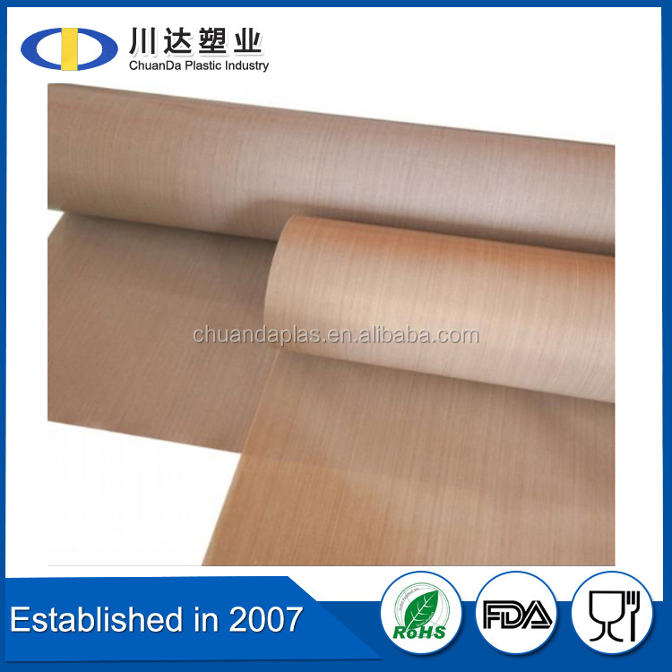 China wholesale light weight heat resistant materials ptfe fabric, 0.18mm thick non stick surface ptfe fabric for heat press