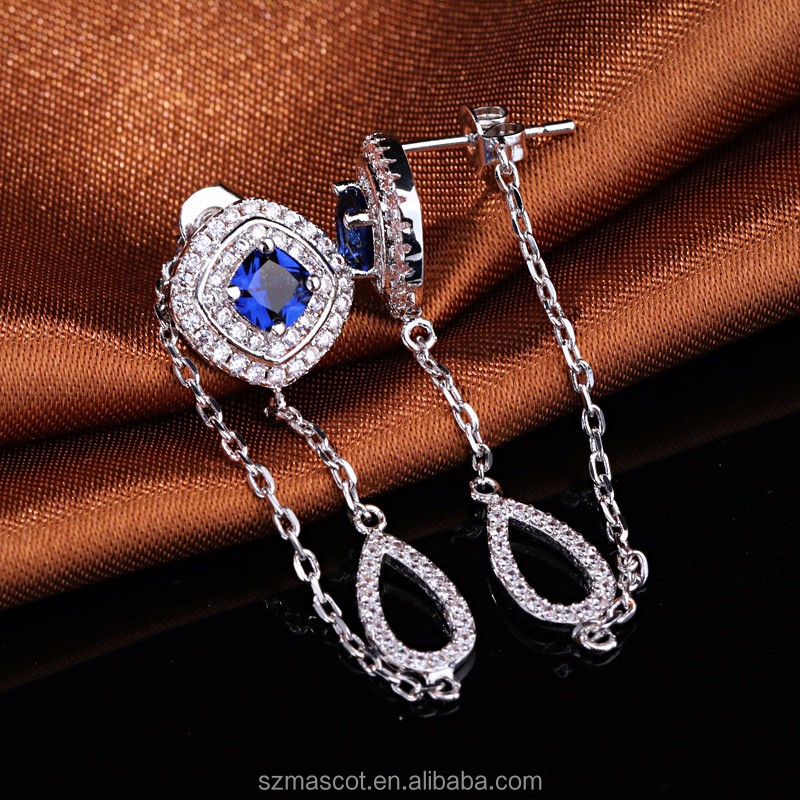 White Gold Plated Created Blue Sapphire & Diamond Chain Stud Earrings
