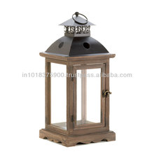 Wood Lantern , Wooden Candle Lantern , 20351A1