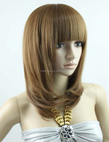 2014 crebecca fashion noble remy hair full lace wig, 12inch light brown short bob glueless ful lace wig