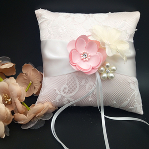Handmade Floral Bridal Ring Pillow Wedding Supplies Decoration Ceremony Satin Ring