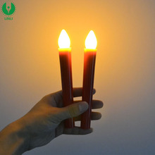 AAA Battery Powered Plastic Taper Candle with Yellow Led Light