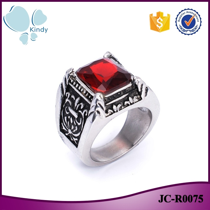 Imitation jewelry 316l stainless steel mens vintage ruby ring