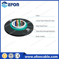 6 12 24 core Direct Burial Steel Armoured GYXTW Fiber Optical Cable