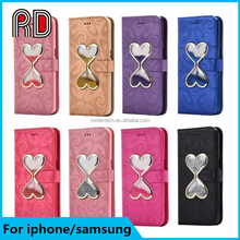 Innovative Love heart time Hourglass Flip stand Wallet float liquid quicksand phone case for iphone 6 6 plus 7 7 plus samsung