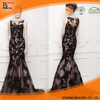 Black lace perspective fishtail trailing the bride wedding dress, evening dress