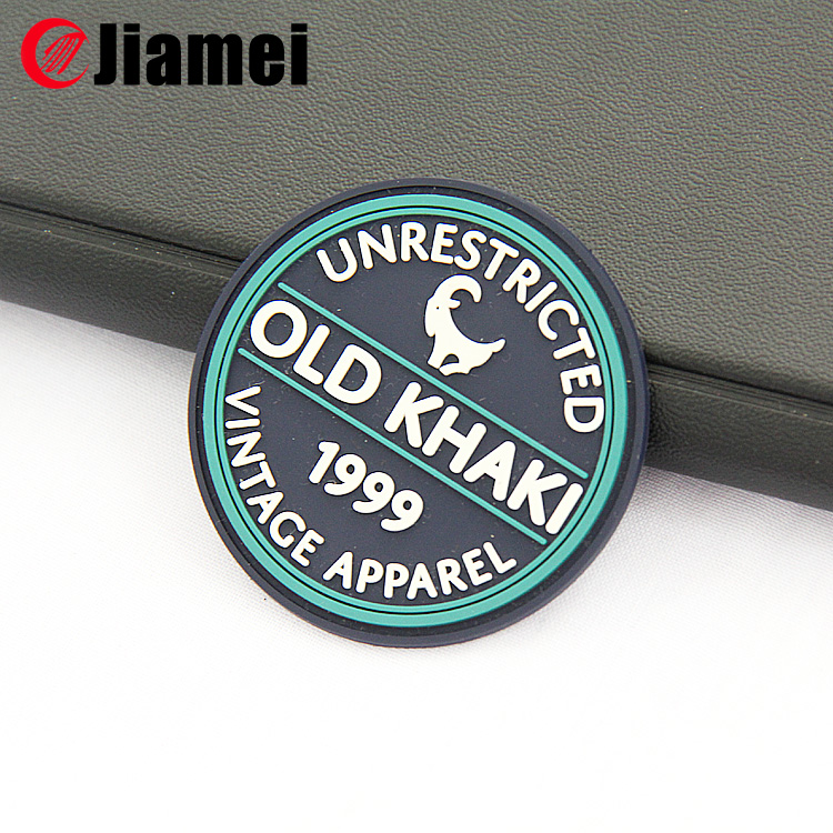 China Jiamei factory OEM sew on embossed silicon patches