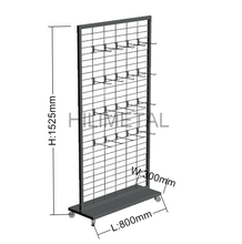 Merchandise display rack rotating metal stand with wheels hanging hooks store fixture