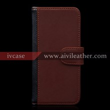Nature Leather Wallet Case for Iphone 5 5s SE with Magnetic Strap