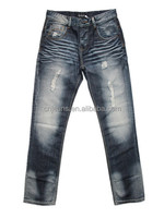 GZY fashionable cheap ripped remove metal buttons jeans for men in stock