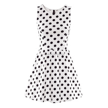 custom fashion summer party bangkok wholesale importers black white Polka Dot Sleeveless Dress clothing stores