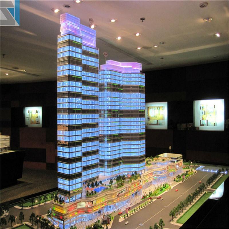3d Design Model With Led Light Commercial Office Building