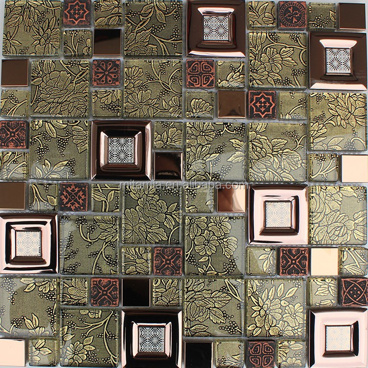 Flower glass mixed copper colored kitchen tile design pattern mosaic
