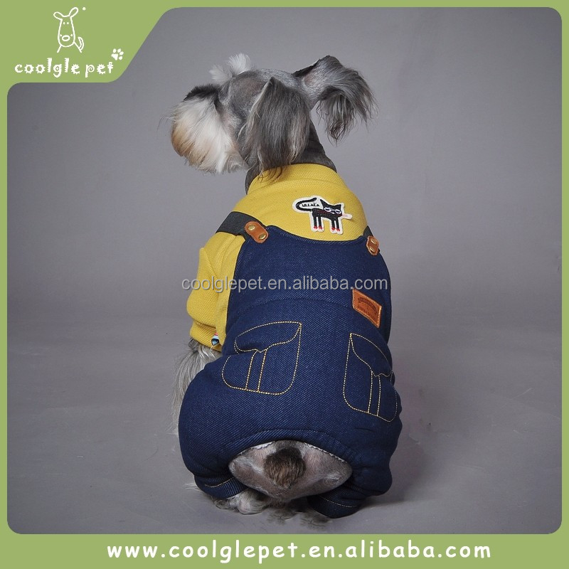 Solid Jean Jumpsuits Christmas Outfits for Dogs Pet Trench Apparel Winter Dog Coats