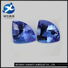 2017 Fashionable brazil semi precious stones Blue Fan-shaped Glass gems prices