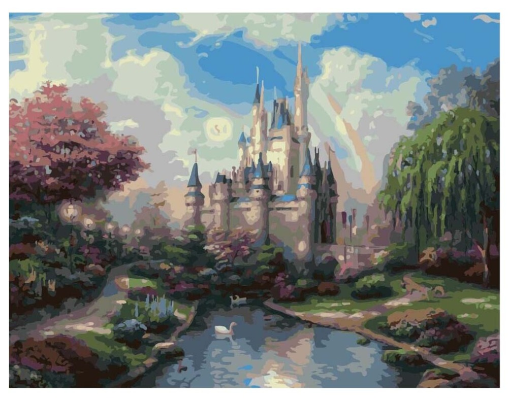DIY oil Painting By Numbers Beautiful Castle Artwork Wall Art Picture