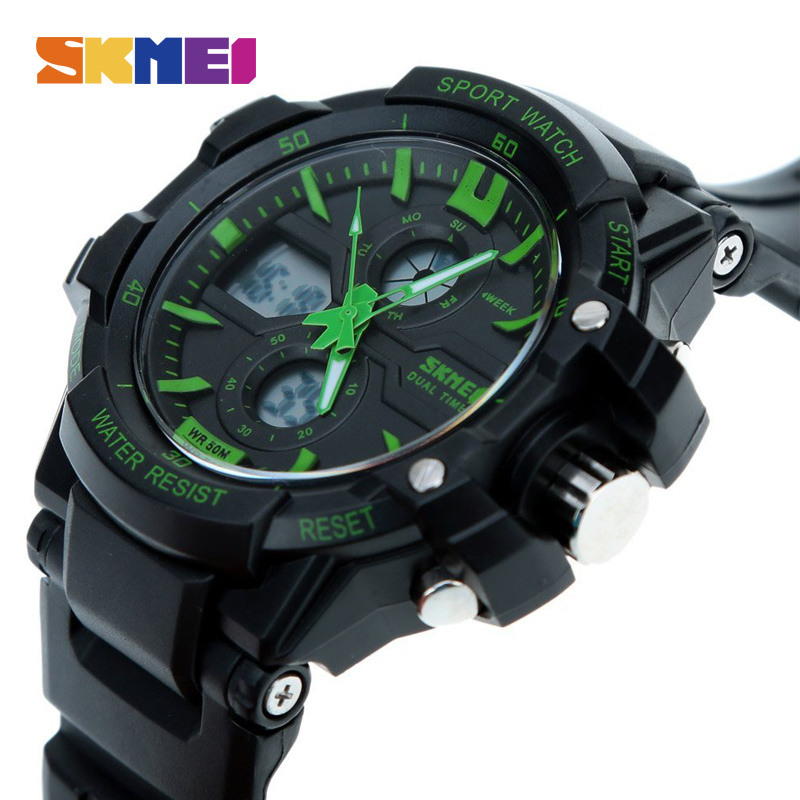 SKMEI Sport Watch Men Digital LED Outdoor Waterproof Dual Display Wristwatches Military Army Top Brand Luxury Watches 0990