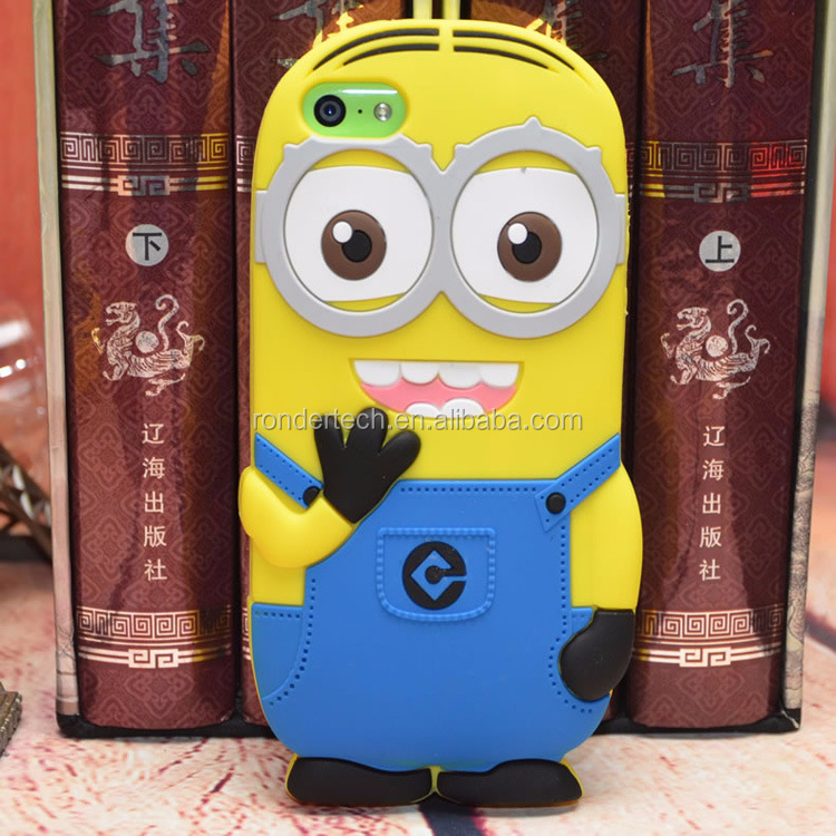 2015 cell phone cover silicon phone case for iphone 5c, 3d cartoon case Despicable Me Minions silicon phone case for iphone 5c