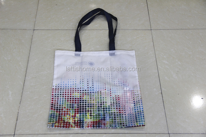 Good quality 210T custom sublimation hot printing polyester folding shopping bag