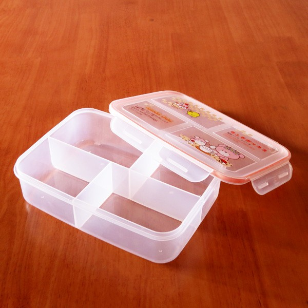 4 compartment to-go plastic food container lock and seal