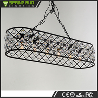 European luxury dinning room vintage style lamp cage shaped glass crystal pendant light