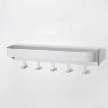 Wall mounted 5 white ironing board hooks