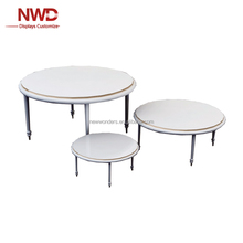 plywood table retail wood and metal display table top showcase display stand with 3 pcs /set