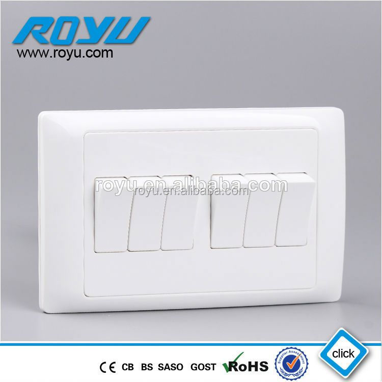 LIDE Y-L6K1 Australian Style 6 Gang Wall Switch