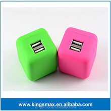 China Factory Price Dice Portable Colorful 2 in 1 Dual USB Charger for Galaxy S4/5/6