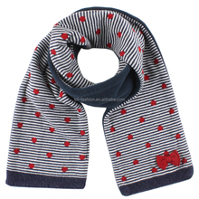 Girls' cotton dot jacquard bowknot polar fleece lined knitted scarf