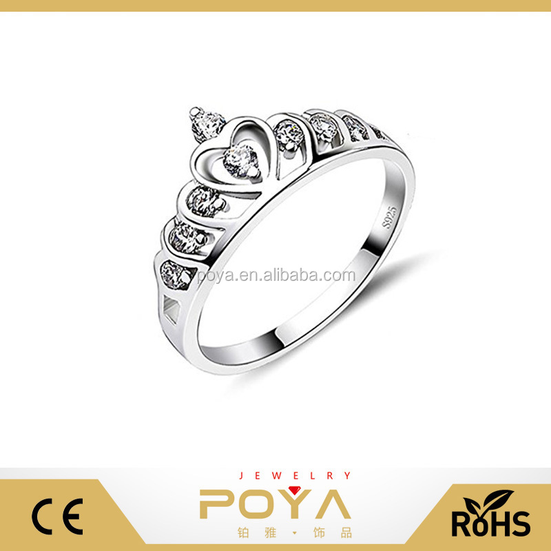 POYA Jewelry 18k white gold plated 925 sterling silver cubic zirconia princess crown engagement wedding band ring