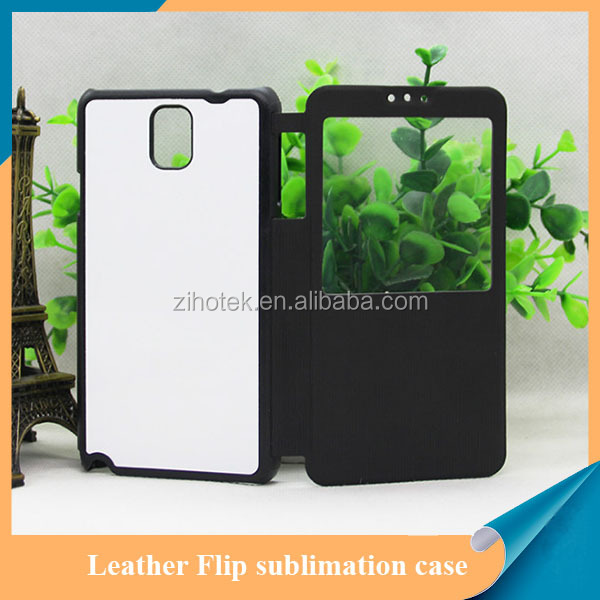 Heat transfer sublimation leather flip phone case for samsung note 3 with window opend
