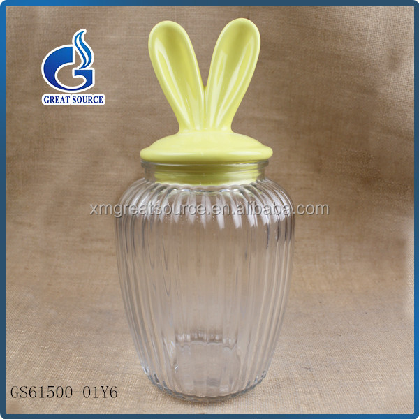 wholesale food grade decorative glass jar canister with ceramic lids