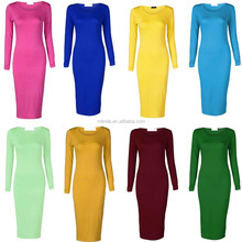 Pictures Formal Dresses Women Long Sleeve Scoop Neck Midi Bodycon Pink Dresses For Women
