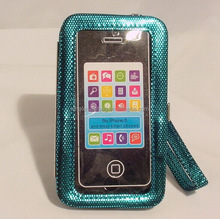 Latest Phone Cover, Wristlet Mobile Phone Case, Sequins Leather Cell Phone Case for iPhone