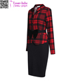 Retro Checks Party Work Sheath Bodycon Wiggle Pencil Dress With Women Long Sleeve Vestido