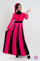 Long Sleeve Two Tone Jubah Muslim Dress FJ0183