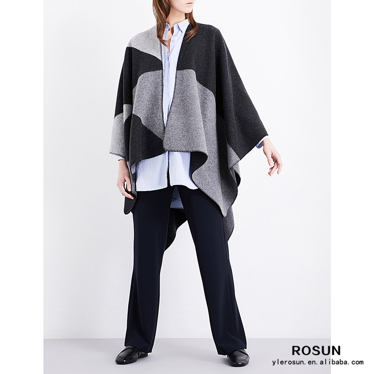 Women Houndstooth cashmere cape